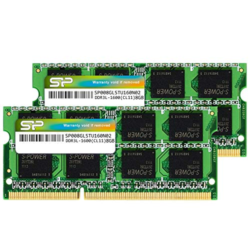 Silicon Power 16GB (2 x 8GB) Compatible for Apple DDR3L RAM 1600MHz (PC3 12800) 204 pin CL11 1.35V Non ECC Unbuffered SODIMM Laptop Memory Module - Low Voltage