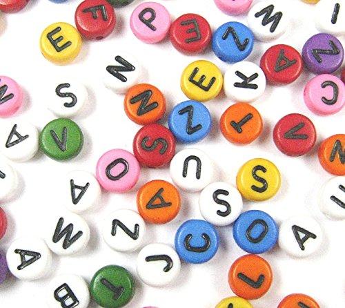 150 Buchstaben PERLEN Kunststoffbuchstabe rund 7mm Mix Mehrfarbig BUNT für Armbänder Auffädeln, Halsketten, Schlüsselanhänger und Kinderschmuck D109