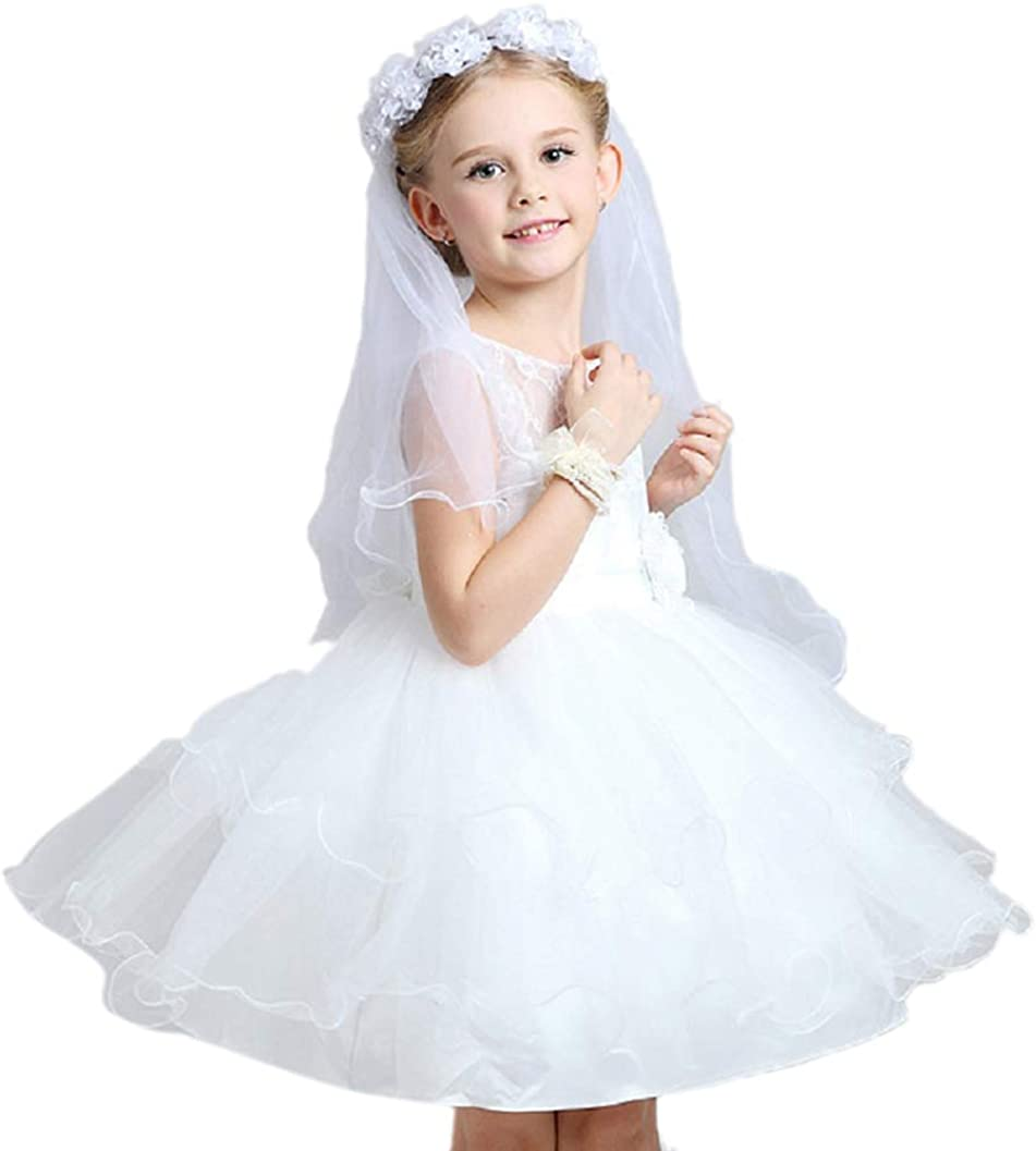 Eliffete 2018 Flower Girls 2T First Communion Veil Floral Wreath Veil with Pearl