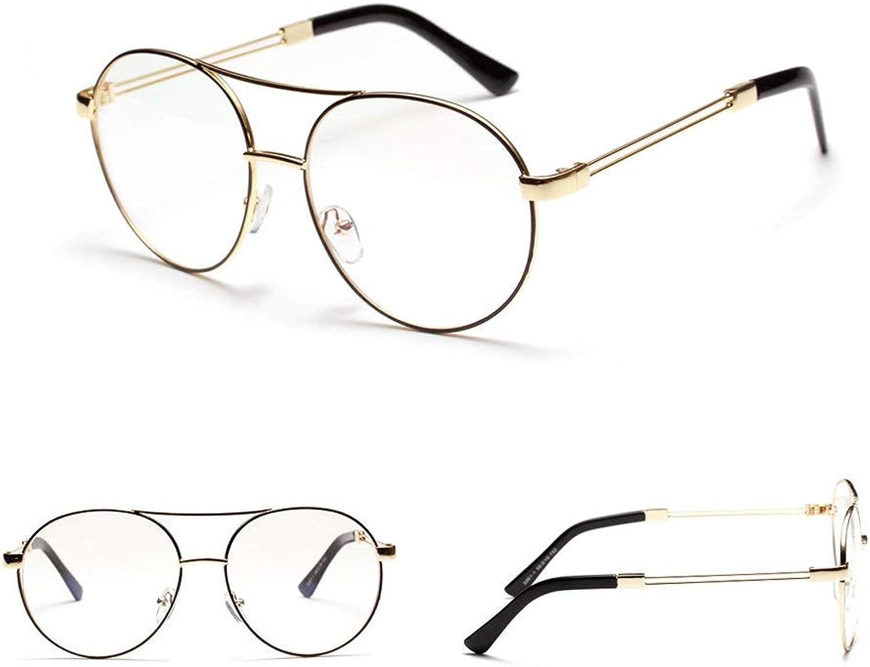 Metal Enamel Glasses Large Frame Optical Glasses, Flat Glasses for Women Men. Sunglasses (color   golden)
