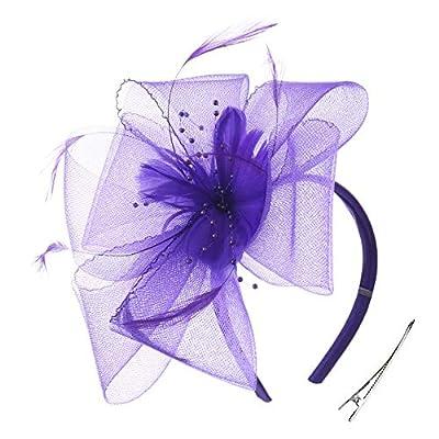 Fascinator Hats Blossom Feather Tea Party Headpiece Wedding Church Bridal Headwear for Women Girls