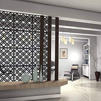 Kernorv Hanging Room Divider Decorative Screen Panels Made of PVC Room Divider Panels for Living Room Bedroom Office Restaurant  Black 12 PCS