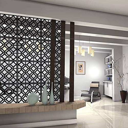 Kernorv Hanging Room Divider DIY Splitter Screen 12pcs Safety PVC Screen Panel for Decoration Home, Living Room, Kids Bedroom, Kitchen, Dining Room (Black)