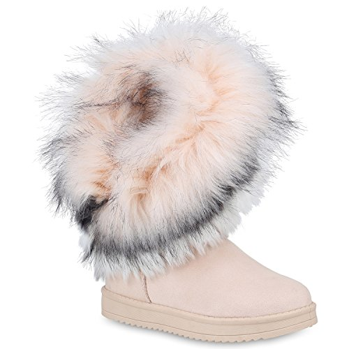 Damen Schuhe Schlupfstiefel Kunstfell Warm Gefütterte Stiefel Winter 153122 Creme 37 Flandell