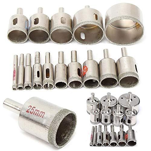 De múltiples fines 15pcs / Set de 6 mm a 50 mm con recubrimiento de diamante sierra de perforación Bits azulejo de cerámica de cristal perforar en busca de porcelana de bits de perforación de mármol p