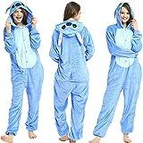 Tier Pyjama Onesies Fasching Halloween Kostüm Schlafanzug Cosplay Pyjama Unisex Erwachsene Damen Karneval Einteiler Stitch L