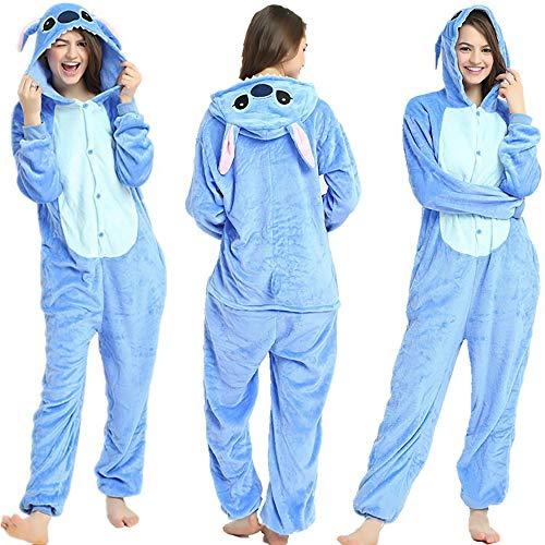 Tier Pyjama Onesies Fasching Halloween Kostüm Schlafanzug Cosplay Pyjama Unisex Erwachsene Damen Karneval Einteiler Stitch M