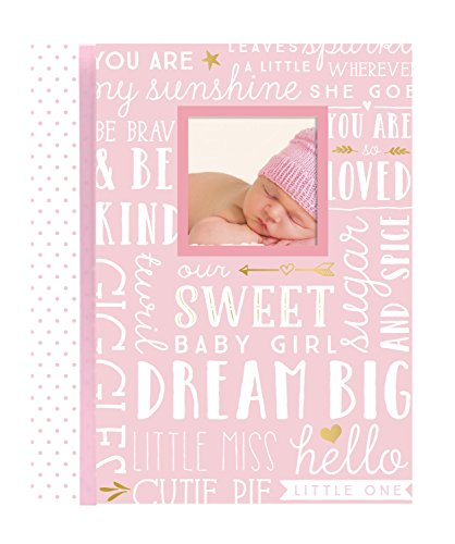 Lil Peach First 5 Years Dream Big Wordplay Baby Memory Book Journal, Baby Shower Gift, Pink