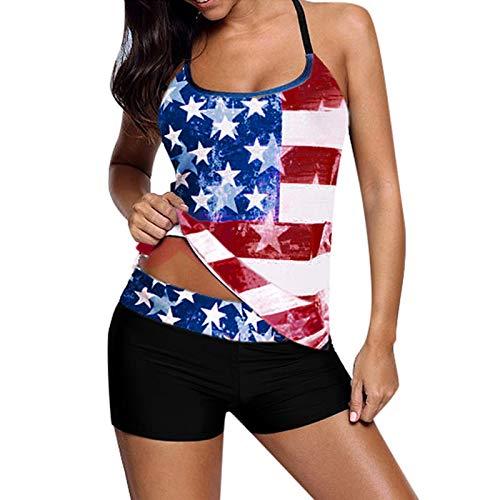 Women's Beachwear Plus Size American Flag Crisscross Back Boyshort Two Piece Swimsuit Tankini Set