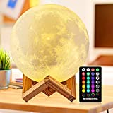 Moon Lamp DTOETKD 16 Colors 3D Printing LED Moon Night Light with Stand, Remote & Touch Control Brightness USB Rechargeable, Luna Lamp for Baby Kids Friends Lover Birthday Gifts