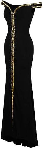 BINGQZ Robe Décontracté Cocktail Robe Robe de Soiree a Epaule pour Femme avec Paillettes dorées Robe de soirée Extensible Noir 398