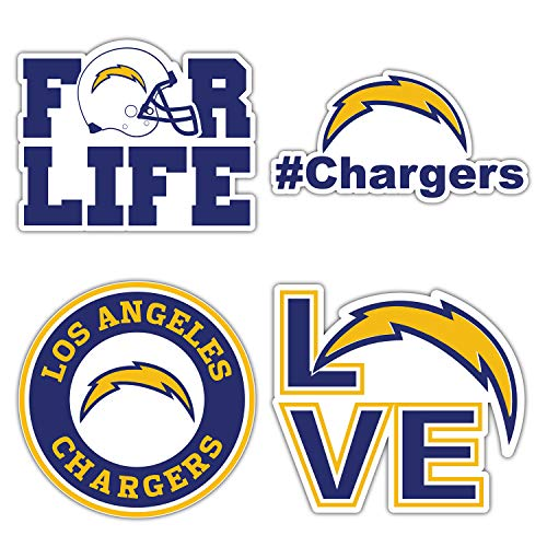 Los Angeles City Charger Football Logo Die-Cut Decal Sticker - Set of 4 Pieces - 5'' Longer Side