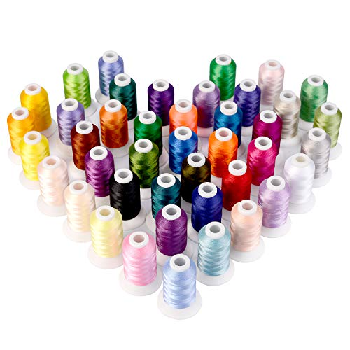 ShinyStitch Polyester Embroidery Machine Thread Kit, 500M (550Y) for Brother Babylock Janome Singer...