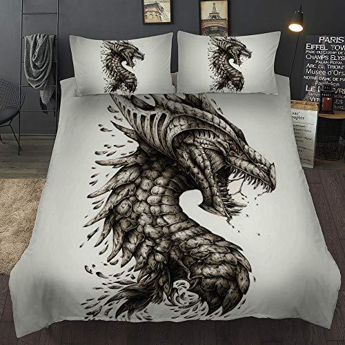 Bedclothes-Blanket Conjunto de Cubiertas de Dragón Dragón de niños con 2 años con 2 Pillowcases Dragon Ropa de Cama Conjunto con Cierre de Cremallera Doble 200x200cm-1_228 * 264cm