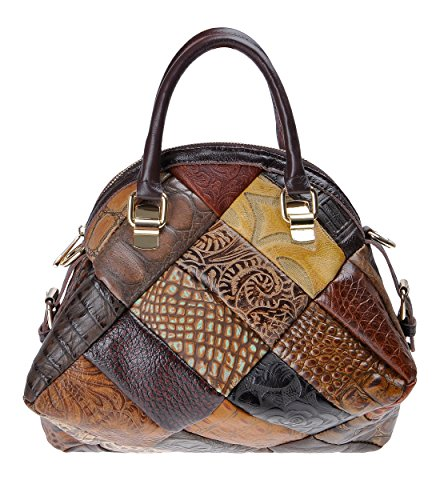ZLYC Bolso de cuero de tipo de cáscara hecho a mano, bolso de hombro de cuerpo cruzado para mujeres