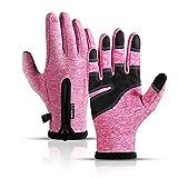 745 Gants d'hiver chauds avec écran tactile et gants en velours épais coupe-vent antidérapants pour sports de plein air, équitation, escalade, roche, rose