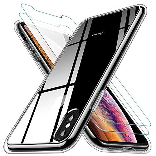 KEEPXYZ Funda para iPhone X iPhone XS Silicona Transparente TPU Antigolpes + 2 Pcs Protector de Pantalla para iPhone X iPhone XS Cristal Templado, Vidrio Templado para iPhone X iPhone XS