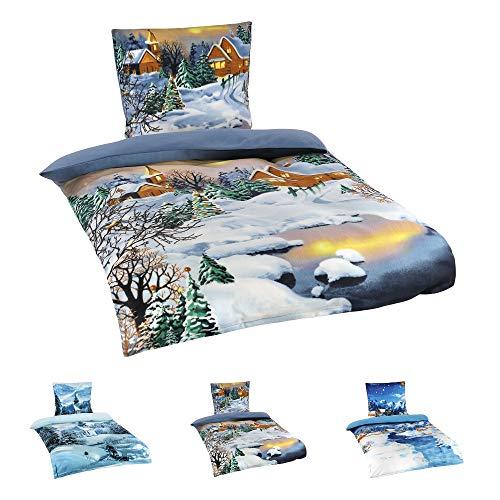 Niceprice Winter Flausch Fleece Microfaser Bettwäsche, Winterlandschaft Motive, 4tlg. Nacht 135x200