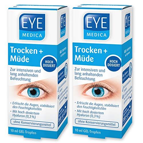EyeMedica Trocken + Müde, Gel Augentropfen zur intensiven, lang anhaltenden Befeuchtung und Erfrischung der Augen, mit 0,3% hoch dosiertem Hyaluron für müde und trockene Augen, 2 x 10 ml Gel-Tropfen