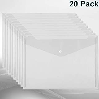 20 Pcs Plastic Envelopes Poly Envelopes Clear Waterproof Envelope Folder with Button Closure, US Letter A4 Size File Envelopes for School, Home, Work, Outdoor and Office Organization