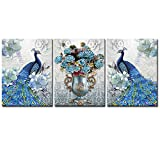 """DekHome Blue Peacock Elegant Flower Bouquet Vase Giclee Picture Painting Prints 3 Piece Animal Peacock Wall Art Stretched and Framed Vintage Home Office decor 12""""x16""""x3pcs"""