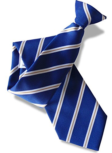 Great British Tie Club Cravate à Clipser - Bleu Royal avec Blanc et Or Rayure