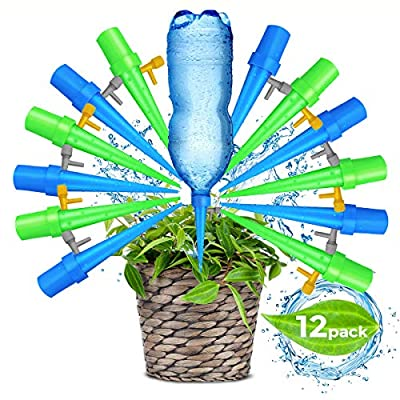 Upgraded Adjustable Self Watering Spikes. Indoor Outdoor Plastic Bottle Garden Plant Drip Irrigation Automatic Device Spike System. Works as Plants Watering Bulbs - Globes with Drip Control Valve. from Good Mind Solutions LLC