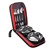 Hysagtek 6 Pcs Portable Stainless Steel Travel Camping Outdoor Utensils Cutlery Set Flatware Dinnerware Set Portable Tableware Kit with Zipper Case, Spoon,Fork,Bowl for 2 People