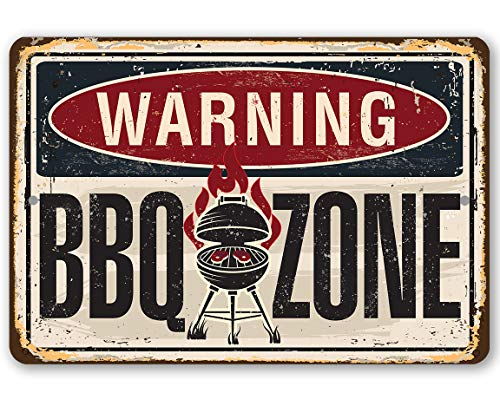 Sp567encer, señal de Metal de Advertencia para Zona de Barbacoa, Letrero de Metal Duradero para Uso en Interiores y Exteriores, es una Gran decoración para Parrilla y Restaurante