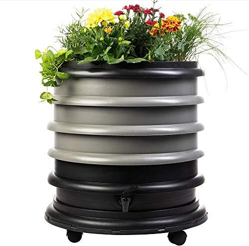 WormBox : Wurmkomposter Wurmfarm mit 3 Schalen Grau + Pflanzgefäß - 56 Liter