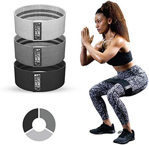 Sweet Sweat Hip Bands with 3 Levels of Resistance Non Slip Fabric Booty Bands for Squats Lunges product image