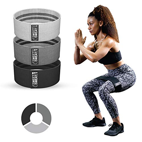 Sweet Sweat Hip Bands with 3 Levels of Resistance   Non-Slip Fabric Booty Bands for Squats & Lunges   Includes Free Mesh Carrying Bag (Gray)