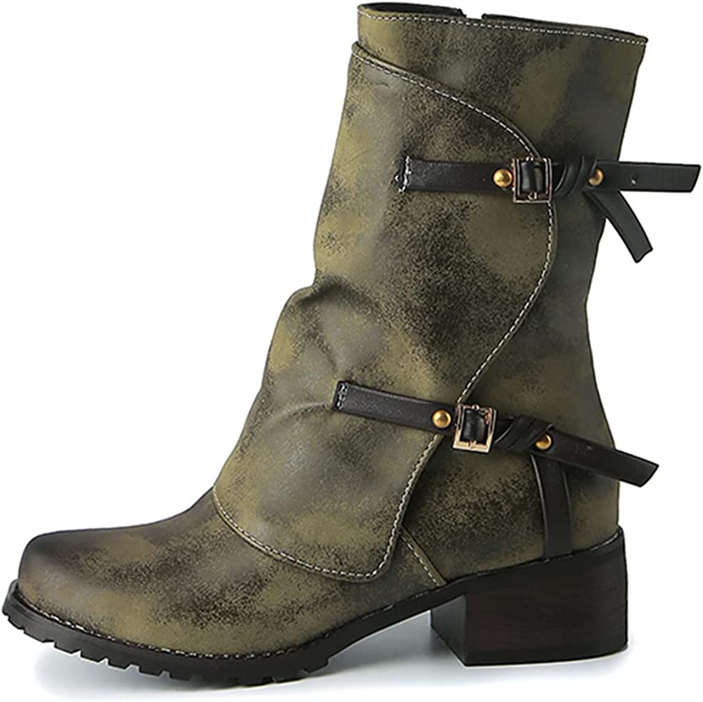 Huntarry Women Retro Buckle Ankle Boots Mid Calf Combat Boots Chunky Block Heel Motorcycle Boots