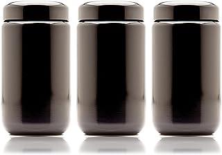 Infinity Jars 400 ml (13.53 fl oz) 3-Pack Black Ultraviolet Refillable Empty Glass Screw Top Jar