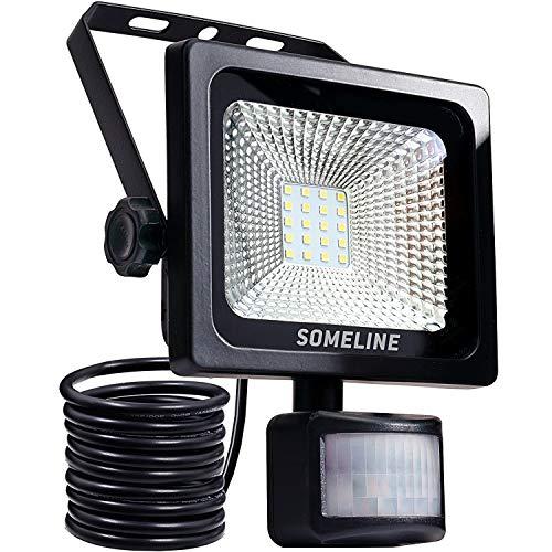 20 W luz de seguridad con sensor de movimiento IP66 luces de inundación al aire libre luz de alta salida luz blanca impermeable luces de seguridad PIR reflector SOMELINE