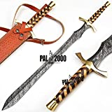 PAL 2000 KNIVES 34-inch - Handmade Gladius Damascus Steel Sword, Knife with Leather Sheath -SbSm-9498