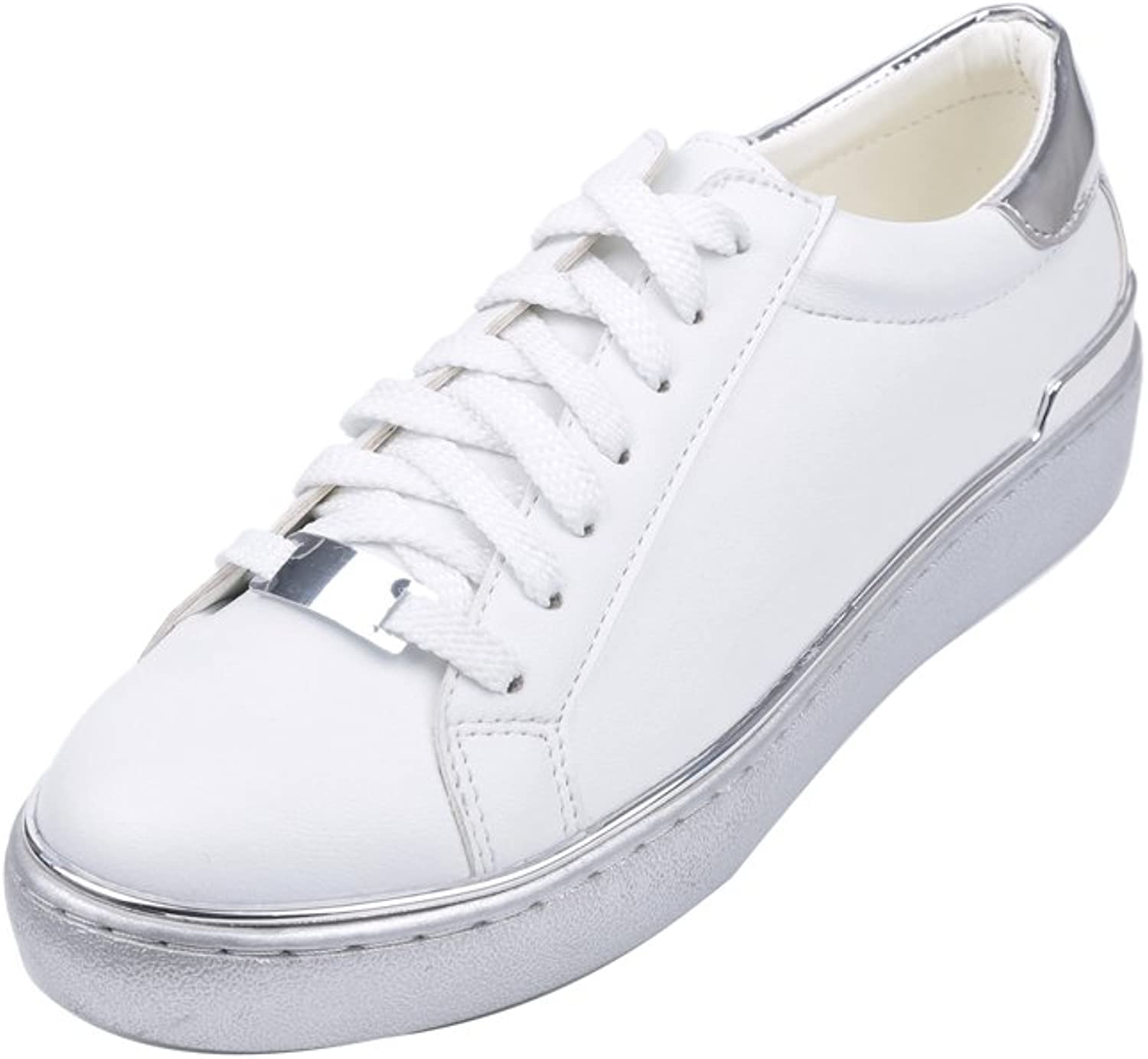 1TO9 Womens Microfiber Lace-Up Silver Microfiber Walking shoes - 5.5 B(M) US