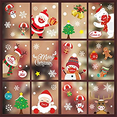 158 PCS Christmas Window Clings Decals for Glass Snowflake Reindeer Santa Claus Window Stickers Xmas Decals Merry Christmas Holiday Party Supplies Decor