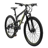 BIKESTAR Bicicleta de montaña de Aluminio Suspensión Doble Completa 26 Pulgadas | Cuadro 16' Cambio Shimano de 21 velocidades, Freno de Disco, Fully MTB | Negro