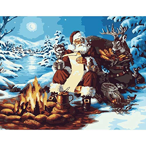 MYSZS Paint By Numbers Kits for Adults And Kids,With Brushes And Acrylic Pigment for Pre-Printed Canvas Art Home Decoration (Santa claus) 16*20 inch Without Frame