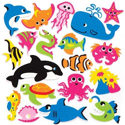 """Baker Ross Moosgummi-Aufkleber """"Meerestiere"""" (120 Stück) – lustige Moosgummi-Aufkleber mit Meerestieren für Collagen und Bastelarbeiten"""
