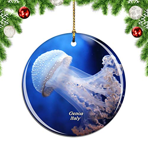Weekino Italien Aquarium von Genua Weihnachtsdekoration Christbaumkugel Hängender Weihnachtsbaum Anhänger Dekor City Travel Souvenir Collection Porzellan 2,85 Zoll