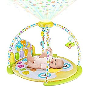 BABYSEATER Baby Gym and Playmats – Kick and Play Piano Baby Play Mat for Infants and Newborn – Baby Activity Gym Playmat with Rotating Star Mobile & Star Projector – Machine Washable