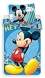 JF Disney Mickey Mouse Hey - Juego de cama (reversible, 140 x 200 cm, funda de almohada de 70 x 90 cm, 100% algodón), diseño de Mickey Mouse