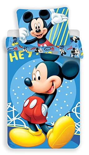 Unbekannt Disney Mickey Mouse Bettwäsche Hey, Wendebettwäsche Größe: 140 x 200 cm, Kissen 70 x 90 cm 100% Baumwolle in Blau