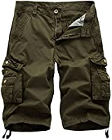 Leward Men's Cotton Twill Cargo Shorts Outdoor Wear Lightweight (36, Army Green)