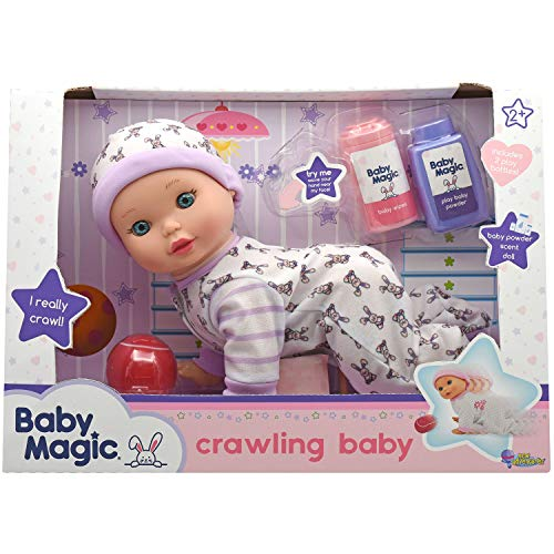 "Baby Magic Crawling Baby (3493), 10"" Plastic Body Baby Doll, Baby crawls and coos and Accessories. Age 2+"