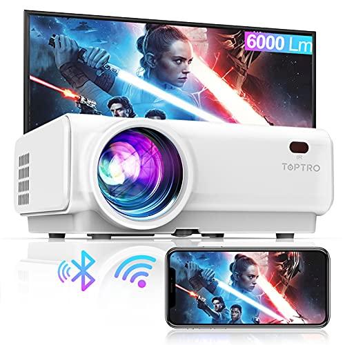 Vidéoprojecteur WiFi, TOPTRO 6000 Lumens Bluetooth Mini Projecteur Portable Soutien Full HD...