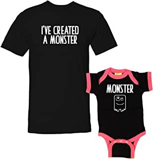 We Match! - I've Created A Monster & Monster - Matching T-Shirt & Ringer Baby Bodysuit Set