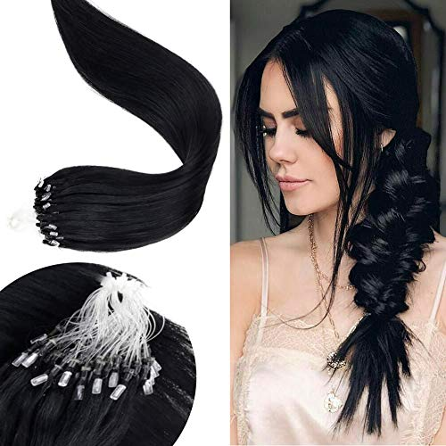 LaaVoo-Echthaar Extensions Loop-Real Hair Extensions,Haarteile Human Hair,Brazilian Echte Haare,Hübsche Frau,Jet Black (20 Zoll 50G/50Strähne)